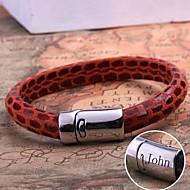 gepersonaliseerde gift lederen touw armband RVS gegraveerd sieraden