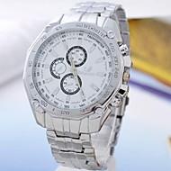 Men's White Dial Alloy Band Quartz Analog Wrist Watch