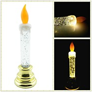 Shimmering Powder and Oil Filled LED Pillar Candle Lamp - 3 x LR44 Battery