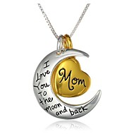 Fashion Mom Heart And Moon Pendant Silver Alloy Pendant Necklace(1 Pc)