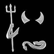 3D Funny Auto Decoration Silver Devil Style Demon Paper Hot Car Stickers(1 Pc)