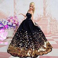 Barbie Doll Classic Black Evening Dress with Golden Beading