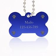 personalisiertes Geschenk Knochenform id name Silber Anhänger für Haustiere mit Kette für Hunde