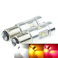 2x 1157 P21/5W Ba15d 30W 6xCREE Cold White Yellow Red 2100LM 6500K for Car Brake Light (AC/DC12V-24)