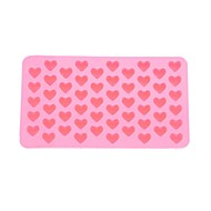 55-Slot Heart Shaped Silicone Cake Biscuit Baking Mold Tray Mold Bakeware (Pink)