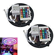 JIAWEN® 2pcs 5M 300X3528 SMD RGB LED Strip Light with 24Key Remote Controller (DC12V)