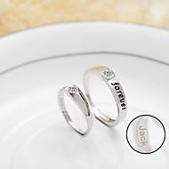 presente personalizado simples de lei 925 casais de prata anéis ajustable