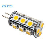 20Pcs G4 2W 18x5050SMD 110LM 3500K/6000K Warm White Cool White Light LED Corn Bulb (15V)
