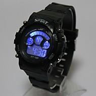 Kinder Modeuhr Armbanduhr Digitaluhr Quartz digital LED Silikon Band Schwarz