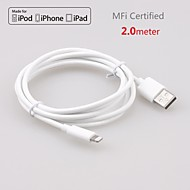 Original MFi Certified Lightning to USB Cable Date Sync Charging for iPhone 6/6Plus/5S/5/5c/iPad Air/mini/4(200cm)