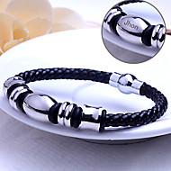 Personlig Smycken Rostfritt stål/Läder - i silver/Svart - Armband