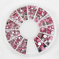 1200Pcs 3 Sizes Of The Rotating Disk Is Arranged Pink Acrylic Diamond  Nail Jewelry