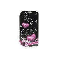 Red Love Butterfly Pattern Voltage Remove Rear Lid PU Case with Stand for Samsung Galaxy S3 I9300