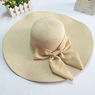 női széles karimájú kalap íj szalma floppy