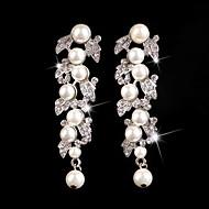 Kolczyki wiszące Kryształ Imitacja pereł Kryształ górski Posrebrzany Stop Biżuteria Na Ślub Impreza 1szt