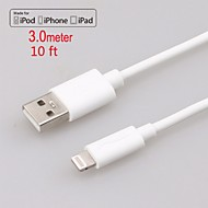 Apple MFi Certified Lightning to USB Data Sync Charger Round Cable for iphone 6/6plus/5s/5/ipad air/mini/4/iPod(300cm)