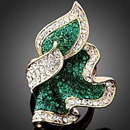 ステートメントリング 合金 ラインストーン 模造ダイヤモンド ファッション グリーン ピンク ライトブルー ジュエリー パーティー 1個
