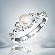 バンドリング クリスタル 真珠 純銀製 タッセル ファッション シルバー ジュエリー 結婚式 パーティー 日常 カジュアル 1個
