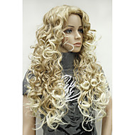 Sexy Strawberry Blonde Mix Highlight Tip Curly Long Synthetic Hair Full Women's Daily Wig