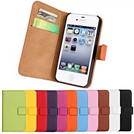 Solid color Stylish Genuine PU Leather Flip Cover Wallet Card Slot Case with Stand for iPhone 4/4S(Assorted Colors)