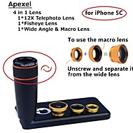 Apexel 4 in 1 Lens Kit 12X Black Telephoto Lens+Fisheye Lens+Wide-angle+Macro Camera Lens with Case for iPhone 5C