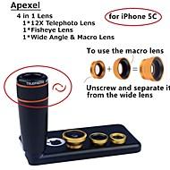 apexel 4 in 1 lens kit 12x zwart telelens + fisheye-lens + groothoek + macro lens van de camera met een case voor de iPhone 5c