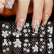 1X12PCS Imbue 3D Diamond Transparent White Lace Nail Art Ultrathin Stickers ZX833