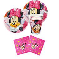 56pcsのミニーマウス18人が使用する赤ん坊の誕生日パーティーの装飾の子供evnentパーティー用品パーティーの装飾