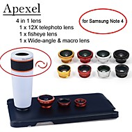 Apexel 4 in 1 12X White Telephoto Lens+Fisheye Lens+Wide-angle+Macro Camera Lens with Case for Samsung Galaxy Note 4