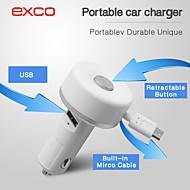 erityinen kannettava mini micro usb sisäänvedettävä kaapeli autolaturi iPhone / iPad / iPod (5v 2.1a)