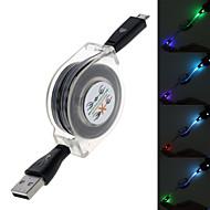 cara sonriente resplandor diseño retráctil de sincronización de datos y cable de carga para Samsung (longitud: 95cm) (colores surtidos)