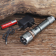 Flashlight Kits LED 6 Mode 1000 Lumens Adjustable Focus Cree XM-L T6 18650 Camping/Hiking/Caving / Everyday Use / Working - Others , Grey