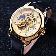 Męskie Zegarek na nadgarstek zegarek mechaniczny Nakręcanie automatyczne Wodoszczelny Grawerowane Skóra Pasmo Ekskluzywne Czarny