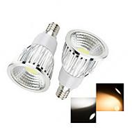 2 stuks Ding Yao E14 6W 1 COB 50-150 LM Warm wit / Koel wit LED-spotlampen AC 220-240 V