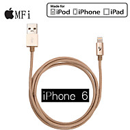 mfi lyn 2.1a 8-pin til usb m / m farverige opladning sync data for iphone 6 plus og iphone 5s / 5 ipad luft / 2 (120cm)