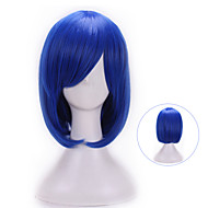 Vrouw Synthetische pruiken Zonder kap Natuurlijk golvend Blauw Met pony Halloween Pruik Carnaval Pruik Kostuumpruiken