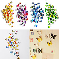 50 PC mariposa 3d calcomanías arte pegatinas imán pared con el palillo de la burbuja (12 PC ordinarias + 38 pcs no magnéticos)