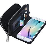 ל מגן סמסונג גלקסי ארנק / מחזיק כרטיסים / מגנטי מגן גוף מלא מגן צבע אחיד עור אמיתי SamsungS7 edge / S7 / S6 edge plus / S6 edge / S6 / S5