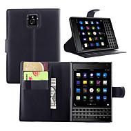 For BlackBerry etui Kortholder / Pung / Med stativ / Flip Etui Heldækkende Etui Helfarve Hårdt Kunstlæder for BlackBerry