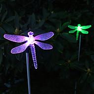 confezione da 2 solare cambia colore libellula luce palo del giardino per giardino paesaggistico illuminazione percorso scala