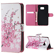 Pink Flowers Pattern PU Leather Hard Case with Stand for Samsung Galaxy Note 5/ Note 5 Edge/ Note 4 / Note 3/ Note 2