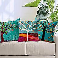 set van 3 kleurrijke bloemen boom katoen / linnen decoratieve kussensloop
