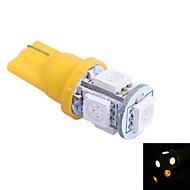 t10 1w 100lm 5x5050 gul / rød / blå / kold / varmt lys til cardashboard / dør / trunk lampsdc12v