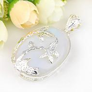 divat előre ovális tüzet holdkő ékkő 925 ezüst kókusz fa medálok nyakláncok esküvői party napi 1db