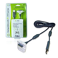 kinghan® langaton ohjain usb latauskaapeli Xbox 360 slim (black&valkoinen)