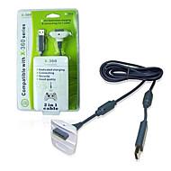kinghan® usb controller wireless cavo di ricarica per Xbox 360 slim (nera&bianco)