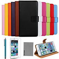 のために iPhone 6ケース / iPhone 6 Plusケース カードホルダー / スタンド付き / フリップ ケース フルボディー ケース ソリッドカラー ハード 本革 iPhone 6s Plus/6 Plus / iPhone 6s/6