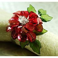 flor de cristal anel de decoração guardanapo, acrílico, 1.77inch, conjunto de 12