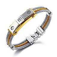 Heren Armbanden met ketting en sluiting Hip-hop Roestvast staal Verguld 18K goud Ronde vorm Zilver Goud/Zilver Sieraden VoorBruiloft