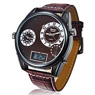 Oulm Herren Militäruhr Armbanduhr Quartz Japanischer Quartz LCD Kalender Drei-Zeit-Zonen Leder Band Schwarz Rot BraunWeiß Schwarz Braun